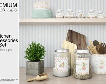 Kitchen Accessories Mockup | Kitchen Accessories | Kitchen Jars | Jar Mockup | Kitchen Mockup