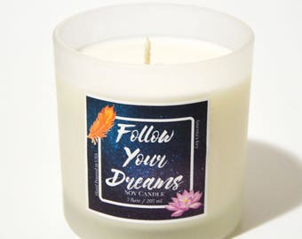 Positive Vibes, Personalized Candle, Thinking of You Gift, Womens Empowerment Gift, Positive Affirmations, Custom Candle, Follow Your Dreams