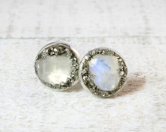 Moonstone, Moonstone Earrings, Moonstone Studs, Moonstone Stud Earrings, June Birthstone Jewelry, June Birthstone Earrings, June Birthstone
