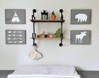Woodland Nursery Decor Set, Teepee Bear Moose and Arrow Decor, Rustic Nursery, Teepee Wood Sign, Camping Theme Decor, Hunting Nursery