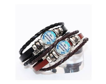 black or brown leather with snap teacher bracelet