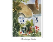 Landscape ORIGINAL Miniature Watercolour The Cottage Garden ACEO English countryside Watercolor For him For her Home decor Wall artGift Idea