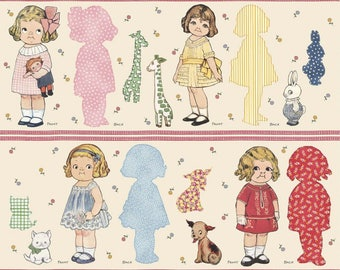 "Aunt Lindy's Paper Dolls by Sibling Arts Studio; Blue Hill Fabrics; Pattern 7167; woven cotton fabric; 4 dolls with pets; 35""x44"""