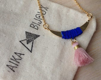 Pink Moon and tassel necklace