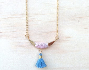 Moonstone and blue-grey tassel necklace