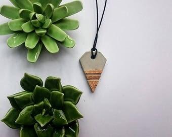 Concrete diamond necklace with Cork