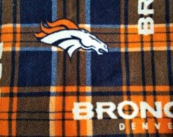 Broncos Plaid Fleece Fabric, Sewing Fabric, Quilting Fabric, Blanket Fabric, 1.375 yards-Ready to Ship