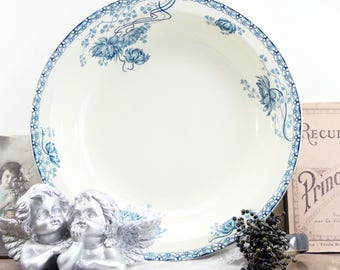 Flat french Sarreguemines - large flat 1920 - Sarreguemines Royat - large flat salad - vegetable - french - dish dish - country