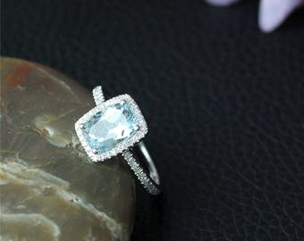 Aquamarine And Diamonds Ring 6X8mm Cushion VS Aquamarine Ring Solid 14K White Gold Ring Diamonds Wedding Ring Promise Ring Engagement Ring