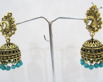 Fashion Designer Golden Oxidized Earrings , Jhumka Jhumki Jewelry , Ethnic Long Drop Chandelier , Traditional Jewelry , Unbelievable Prices.