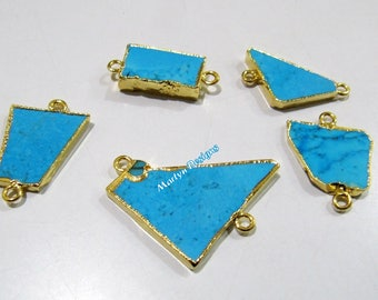 SALE- Natural Turquoise Magnesite Slice Connector Free Form , Charm Pendant With Gold Electroplated Edge , Double Loop 1 inch approximately.