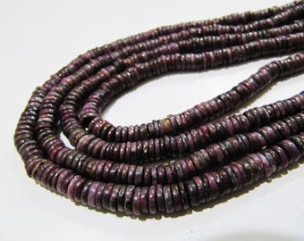 100 Percent Natural Real African Ruby Beads , Natural 6mm Tyre Shape Beads , Strand 8 inches Long , Beautiful Precious Ruby Beads