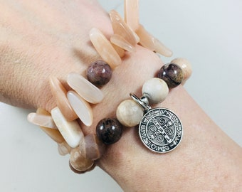 "Set of 2 ""Portia"" moonstone beaded bracelets with Saint Benedict charm • Fast and free shipping"