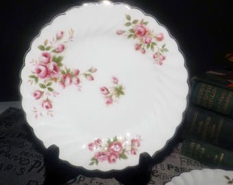 Early mid-century (c.1940s) Johnson Brothers England JB327 bread-and-butter | tea plate. Pink roses, gold edge and accents.
