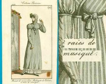 Antique 'musique' 1813 Regency Georgian fashion print Costume Parisien pelisse bonnet