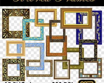 Colored Frames PNG. Digital clip art can be used as graphic design elements or printable craft and scrapbooking embellishments