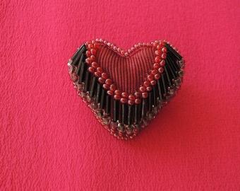 Victorian Whimsy Style Beaded Heart Brooch 1960s San Francisco Artisan