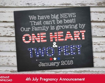 Fourth of July Pregnancy Announcement Chalkboard Poster, 4th of July Pregnancy Reveal, July 4th Pregnancy Announcement JANUARY 2018