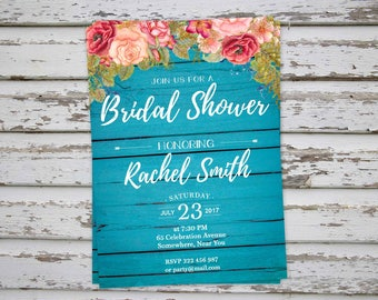 Rustic Bridal Shower Invitation, Floral Bridal Party Invitation, Blue Bachelorette Invite, Hen Party Invitation, Hens Do Invitation DIY