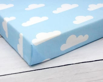 crib bedding, fitted crib sheet, crib sheets, crib sheet, baby boy bedding, mini crib sheets, baby crib sheet, clouds, baby blue bedding,