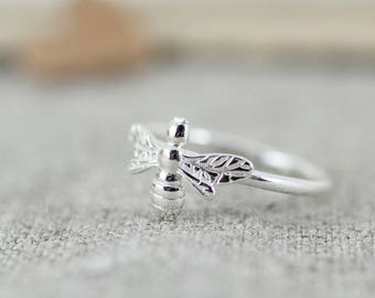 Sterling Silver Bumble Bee Stacking Ring, Bees, Bee jewellery, Honey Bee Ring, Beekeeper,