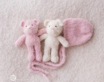 Teddy and Bonnet set, Knitted Teddy, Photography prop, Off White Teddy, beige Teddy, Pink teddy, Alpaca yarn.