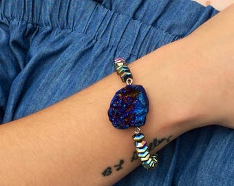 Multicolored Druzy Stone & Iridescent Beads