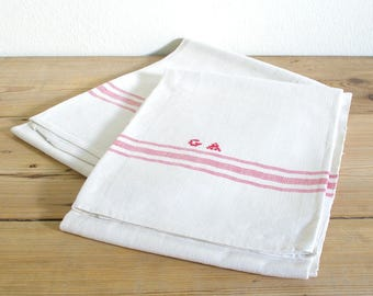 Vintage kitchen tea towels monogrammed red set.Country kitchen towels.Vintage linen tea towel.Farmhouse kitchen.Monogrammed set of tea towel