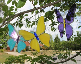 Stained Glass Butterflies suncatcher home nature gift decor Tiffany