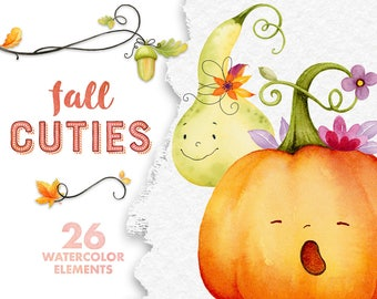 Fall clipart, cute pumpkins, Autumn clipart, fall leaves , pumpkin clip art, scrapbooking, digital watercolor, kids printables, nursery art