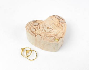 Wooden wedding ring box, to be personalized with your names and wedding date burnt on the lid of the box
