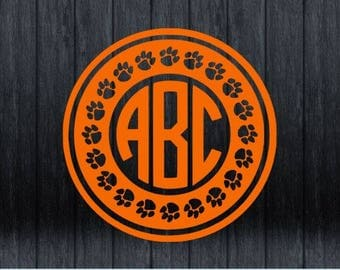 Paw Print Monogram Decal (Personalize your Yeti, Car, Notebook, Cell Phone, Water Bottle, etc. Perfect for smooth hard surfaces!)