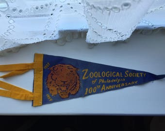 SHIPS FREE!! Vintage Zoological Society of Philadelphia 100thAnniversary Pennant