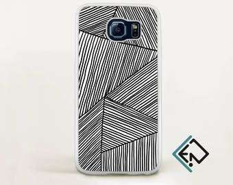 Valentines day Hand drawn phone case fits Samsung S8 black and white phone geometric case protective case gift for him gift for her OT2