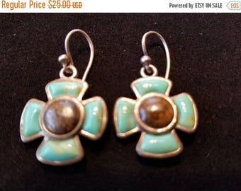 Turquoise tiger eye flower cross four leaf clover sterling silver earrings
