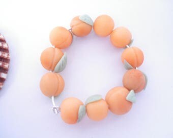 11 pearls in apricot cold porcelain handmade @decomatine
