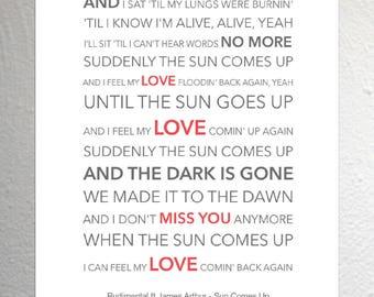 James arthur lyrics etsy rudimental ft james arthur sun comes up funky lyric art print a4 size stopboris Image collections