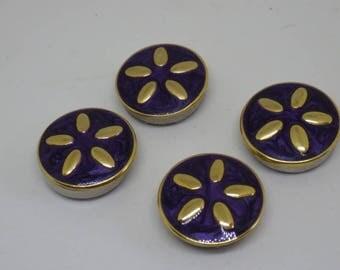 4 Unusual Vintage Enamel Stud Buttons