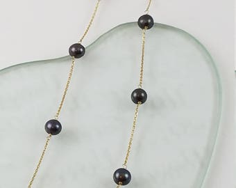 "Black pearl necklace 14k gold chain short necklace 18"" long pearl petite necklace for her PR3371"