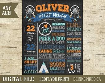 Wild One Birthday Chalkboard, Wild One Birthday Party, Wild One Birthday Decor, Tribal Birthday, 1st 2nd 3rd Birthday, OLIVER, DIGITAL FILE