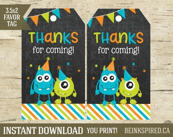 Monster Thank You Tag, Printable Monster Birthday Party Thank You Favor Tag Sticker Label, Monster Party, Thank You Tag, KEVIN, DIGITAL FILE
