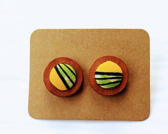 ankara studs// african errings// wood earrings// wood studs//