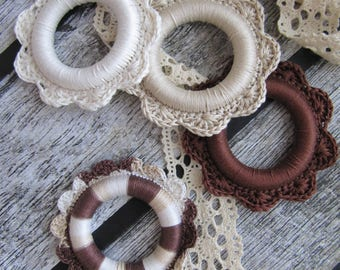 craft supplies crochet wooden ring mix teething ring earthy earth round eco ring jewelry making vegan necklace diy craft brown beige ivory