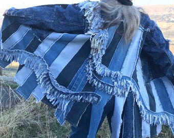 Palouse rolling fringe jean coat, upcycled jean coat, repurposed jean jacket.