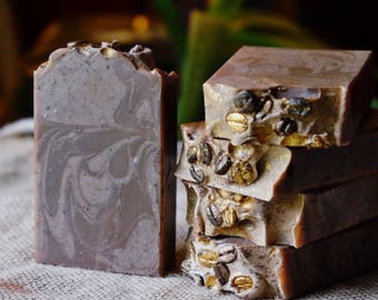 Coffee & Cream handcrafted soap featuring Goat Milk, Ground Coffee Beans and Tussah Silk