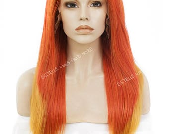 Orange and Yellow Ombre  Long 24 inches  Layered   Synthetic Soft Swiss Lace Front Wig-Ria
