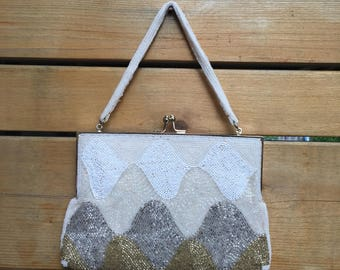 Mid century beaded clutch with pearl beaded handle. Vintage brides clutch. Beaded evening bag. Pearl beaded handle. Bridal clutch.