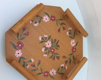 On Sale Vintage handcrafted and hand painted wooden lazy susan with railing.