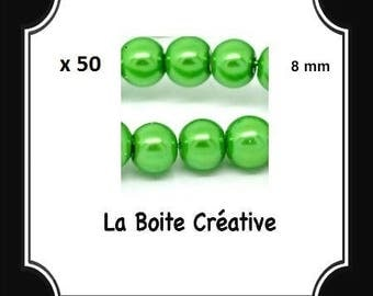 50 glass Pearl 8 mm Green round beads
