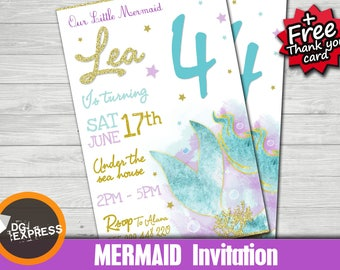 mermaid invitation mermaid birthday invitation glitter mermaid party invites mermaid birthday printables - Under The Sea Party Invitations